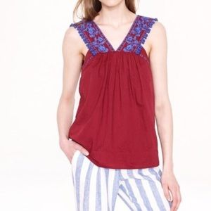 J Crew Embroidered Pom Pom Top